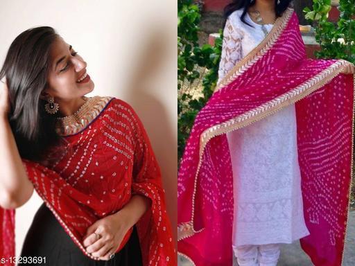 New Jaipuri Stylish Art Silk Bandhani Bandhej  Printed Gota Lace Work Multicolor Combo Dupatta (2.25) Meter For Women's & Girl's