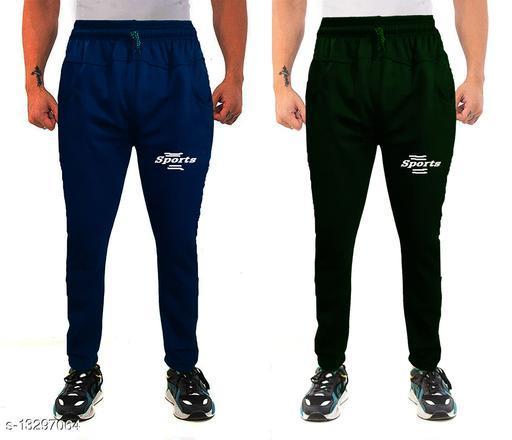 Winte Wear Track Pant  Fleece Fabric Combo(Royal Blue + Mehandi)