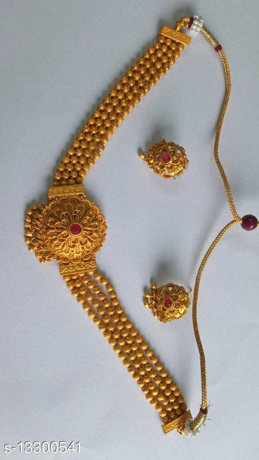 Exclusive Matte Gold Plated Maharastrian Choker Jewellery Set for Women