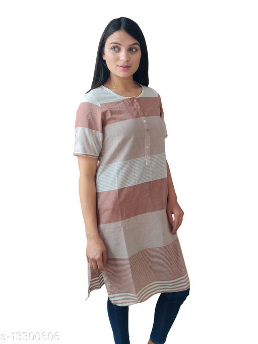 Women Cotton A-line Stripe Kurti