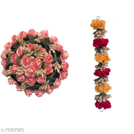 Full Pink Juda Bun Hair Flower Gajra and Multi Color gajra Combo for Wedding and Party