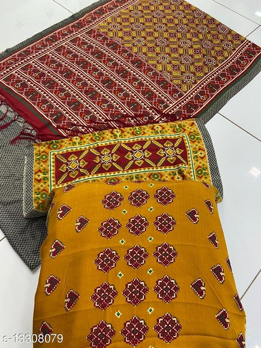 Marudhar Kesri Multi Color Pashmina with Shawl Saree for Women