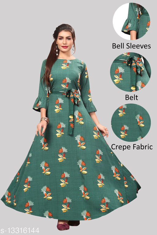 Women's Crepe Bell Sleeve Floor Length Anarkali Maxi Gown