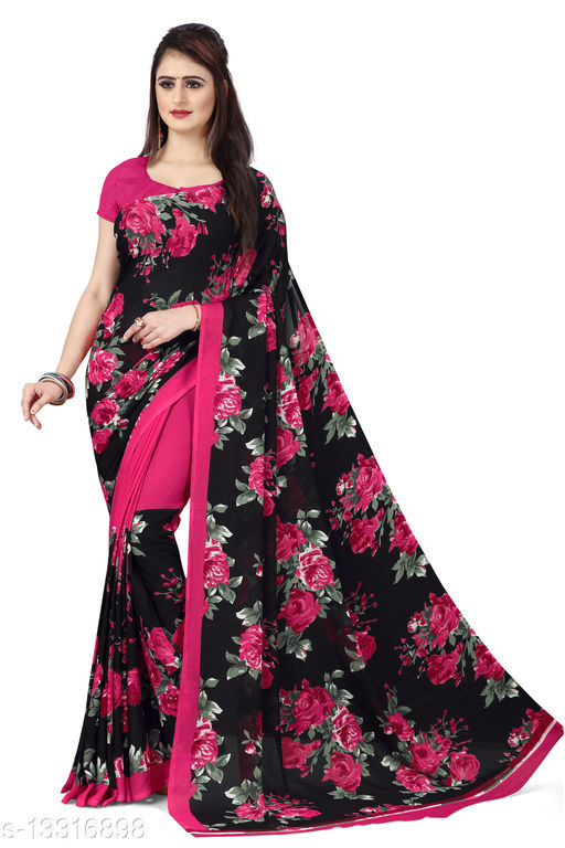 Anand Sarees Printed Georgette Saree with Blouse Piece