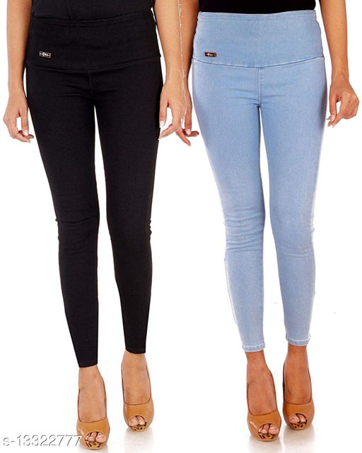 Ansh Fashion Wear Women's High Waist Stretchable Denim Ankle Length Jeggings for Girls and Womens Pack of 2