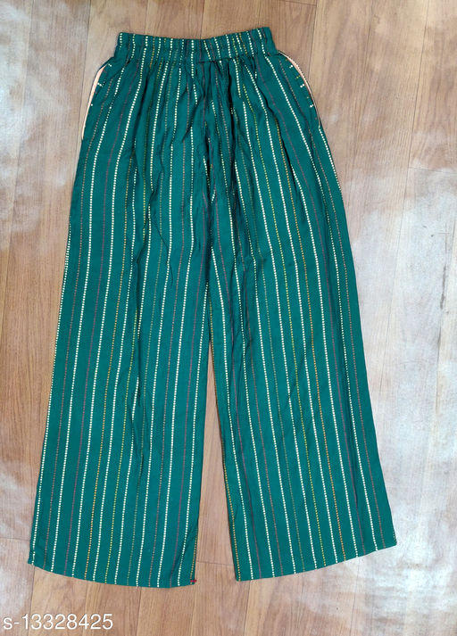 green gold lines party wear palazzo
