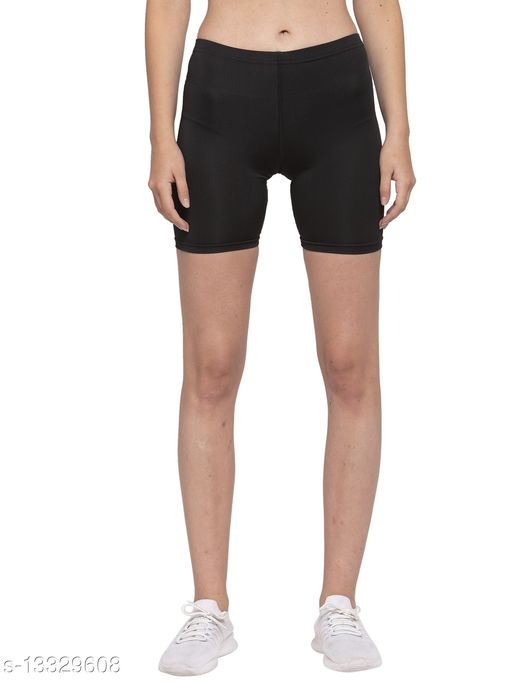 Cukoo Solid Black lycra stretchable shorts for Women (Nylon and Spandex Mix) (Comfort Fit)