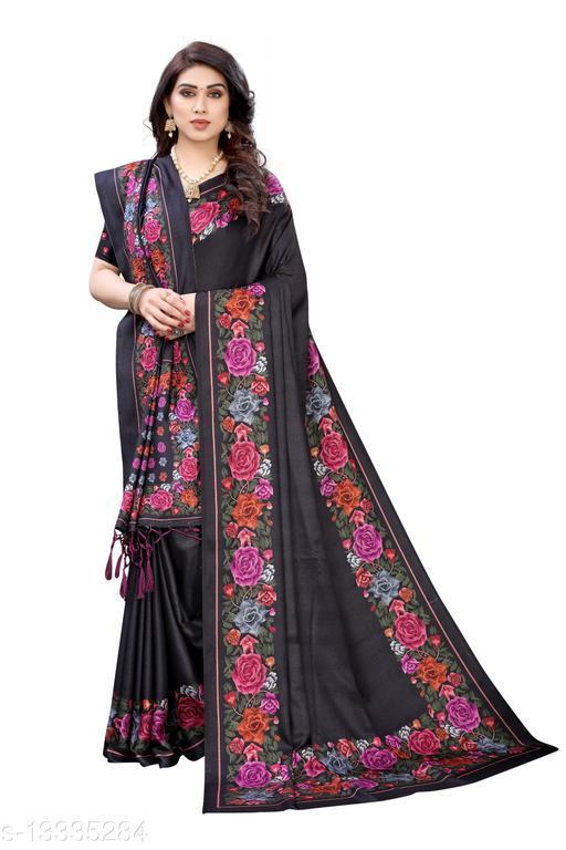 Printed Pashmina silk saree with Shawl