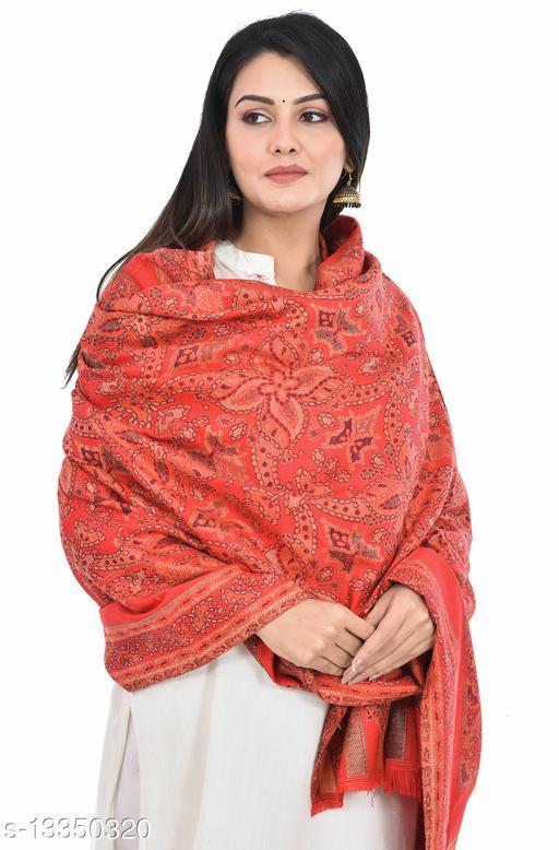 Women's Kashmiri Jamawar Shawl, Soft Faux Pashmina Wool (Red Color)