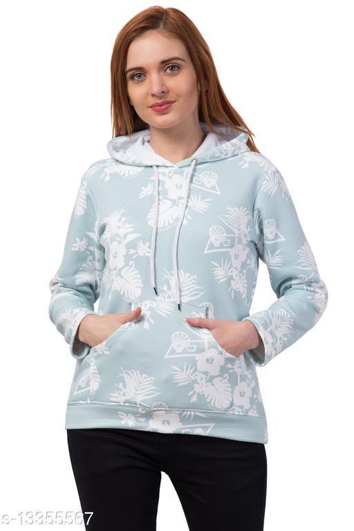 Printed Full Sleeve Both Side Pocket Blue Color Trendy Women's Hoodies Sweatshirts