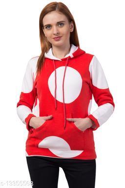 Printed Full Sleeve Both Side Pocket Red Color Trendy Women's Hoodies Sweatshirts