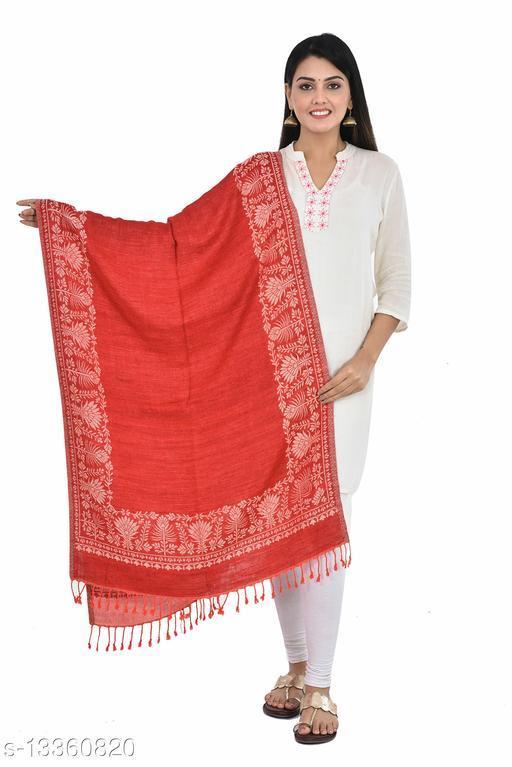 "Women's Fulkari Printed Reversible Border Stole (Maroon) (Size 30"" X 80"")"