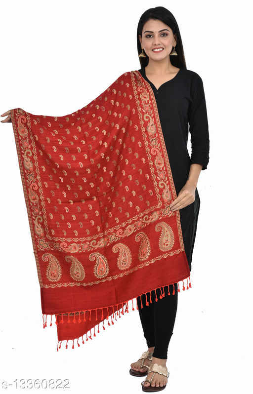 """Women's Paisley Printed Border Small Paisley all-over Stole, wraps, Scarfs (Maroon, Size 30"""" X 80"""")"""