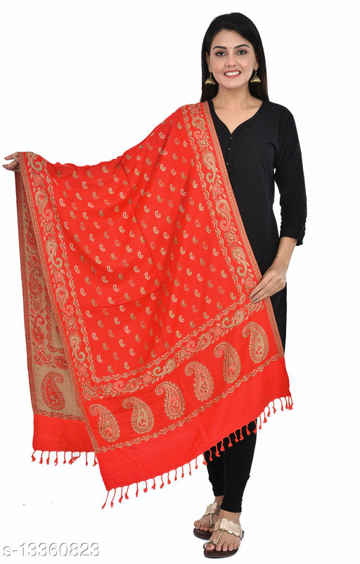 """Women's Paisley Printed Border Small Paisley all-over Stole, wraps, Scarfs (Red, Size 30"""" X 80"""")"""