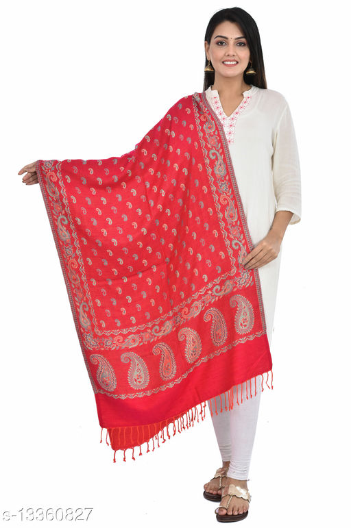 """Women's Paisley Printed Border Small Paisley all-over Stole, wraps, Scarfs (Pink, Size 30"""" X 80"""")"""