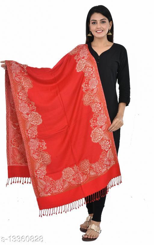 "Women's Fulkari Printed Reversible Border Stole (Red) (Size 30"" X 80"")"