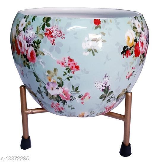 GreyFOX    High Finish Exotic Metal 6 inches Multipurpose Pot    Succulent Pot Indoor    Desktop Flower Planter    Home Décor Garden    Without Plant (Classic Blue)…