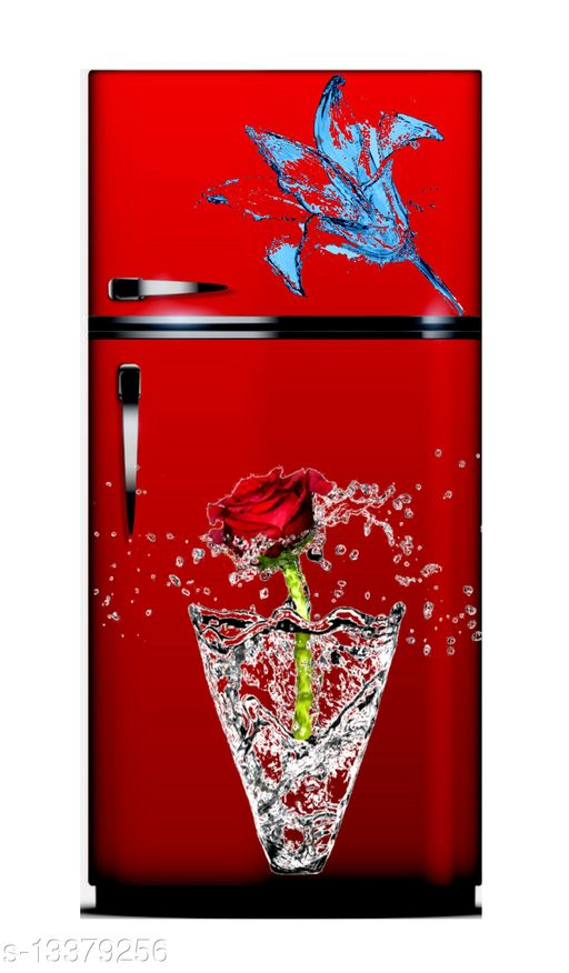 Global Graphics red rose with blue flower of water waterproofe decorative fridge sticker (pvc vinyl decal sticker self adhesive)