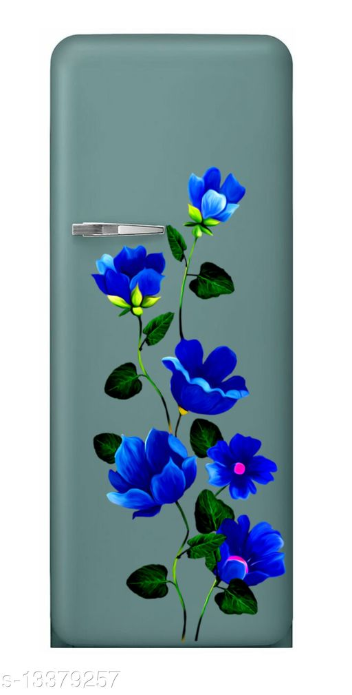 Global Graphics blue color flower with green leaves waterproofe decorative fridge sticker (pvc vinyl decal sticker self adhesive)