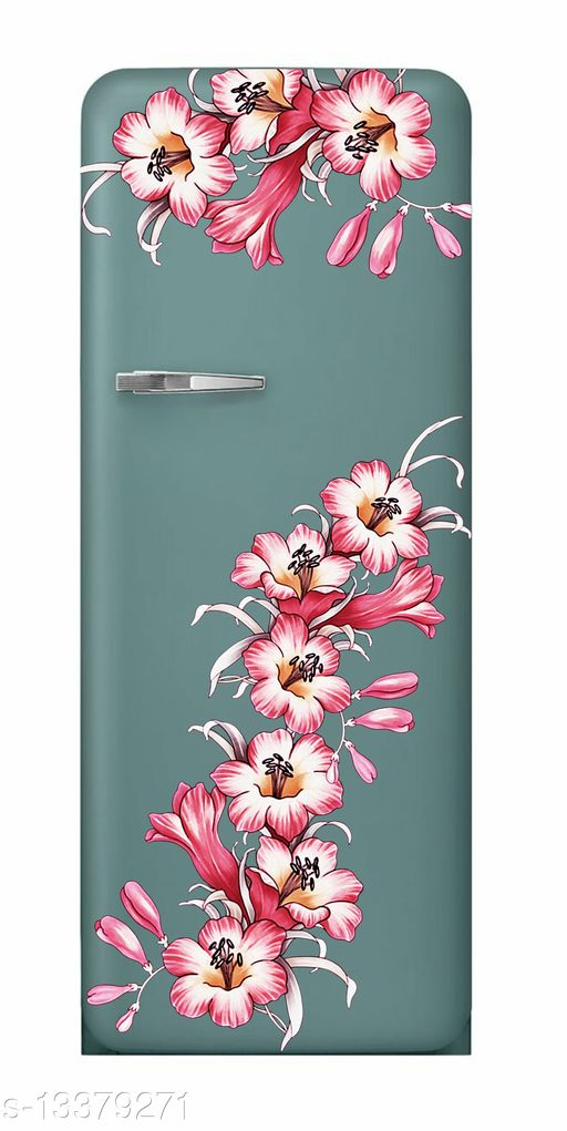 Global Graphics White and pink shade decorative flower fridge sticker for home décor(pvc vinyl)