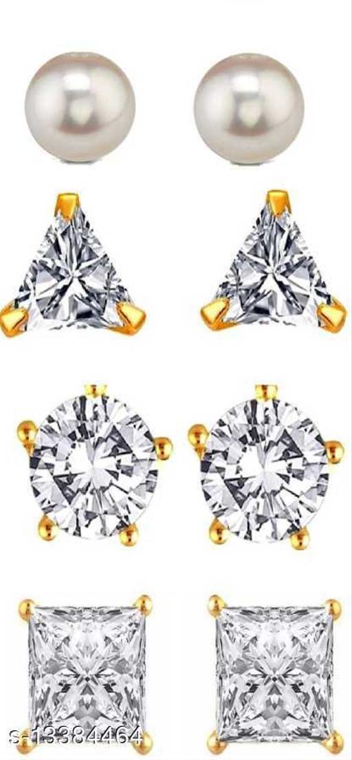 White Stone Earring Pair pack Of 4