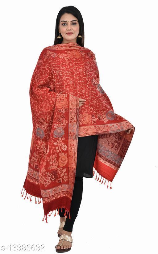 """Women's Jaal Phulkari Printed Stole, Scarfs (Maroon) (Size 30"""" X 80"""")"""