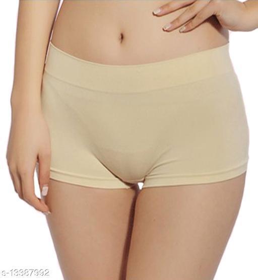 Women Seamless Beige Cotton Panty