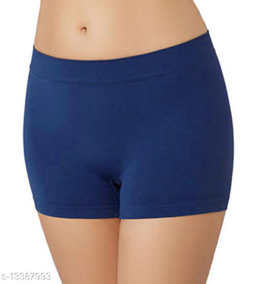 Women Seamless Blue Cotton Panty
