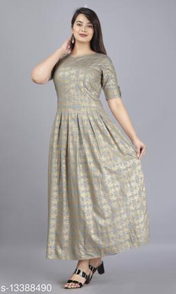Trending Stylish Neck Lace Gold Print Kurti