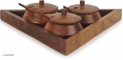 A S Handicrafts Wooden Traingular Serving Jar Set with Tray and Spoon