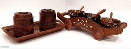A S Handicrafts Wooden Sets of 2 -Handcrafted Bowls with cart and Serving Tray with 2 Burnies,Jars,Containers Set of Wooden