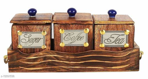 A S Handicrafts Wooden Large Tea Coffee Sugar Large Container Set in Wooden Tray