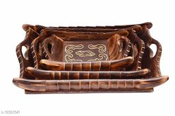 A S Handicrafts Wooden Serving Tray Set of 3