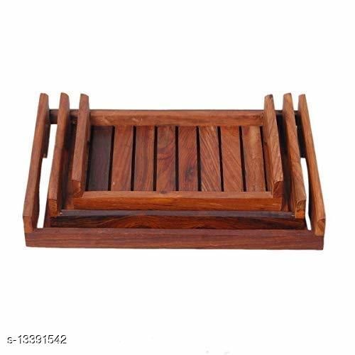 A S Handicrafts Wooden Serving Tray Set