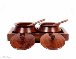 A S Handicrafts Sheesham Hand Crafted Embellished set of 2 wooden bowl for containing Spices, Salt,Sugar with a Tray and Two Spoon