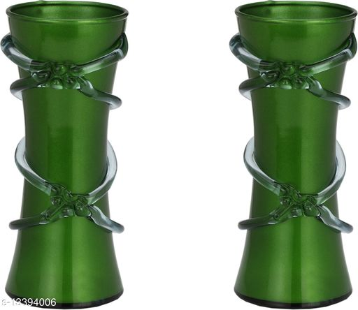 1st Time Green Glass Flower Vase Hand Decorative With New & Stylish Shape(Set Of Two)-TP27