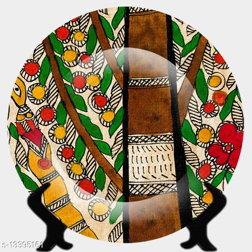 Ddeziner  Rare madhubani handcrafted 3d ceramic designer plate 10inch with stand, decor for home/office