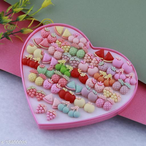 Stud Earring Lovely Multicolor Multi Fruits  Designes  Set Of 36 Earrings for girls