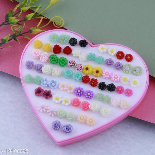 Stud Earring Lovely Multicolor Multi Flower Designes  Set Of 36 Earrings for girls
