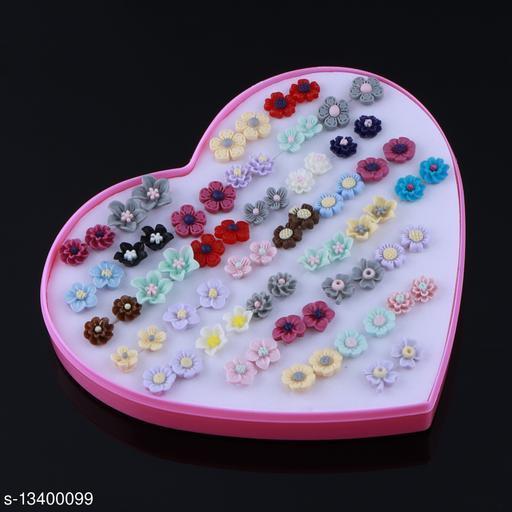 Stud Earring Stylish  Multicolor Multi Flower Designes  Set Of 36 Earrings for girls