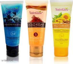 NutriGlow Combo of 3 Face Wash (Diamond, Gold Kesar and Wild Turmeric) 65ml each