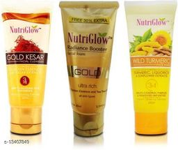 NutriGlow Combo of 3 Face Wash (Gold Kesar, Gold Radiance Booster and Wild Turmeric) 65ml each