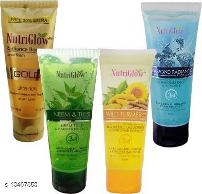 NutriGlow Combo of 4 Diamond (65ml)|Gold (65ml)|Turmeric (65ml)|Neem tulsi For Acne&pimple |Face Cleanser|Daily use Face Wash(260 ml)
