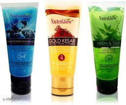 NutriGlow Combo of 3  Face Wash (Diamond, Gold Kesar and Neem & Tulsi) 65ml each