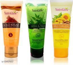 NutriGlow Combo of 3  Face Wash (Gold Kesar, Neem & Tulsi and Willd Turmeric) 65ml each