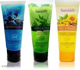NutriGlow Combo of 3 Face Wash (Diamond, Neem & Tulsi and Wild Turmeric) 65ml each