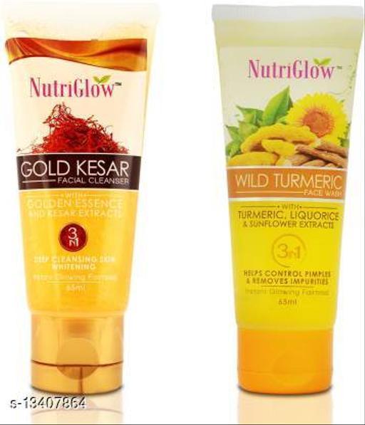 NutriGlow Combo of 2 Face Wash (Gold Kesar and Wild Turmerc_ 65ml each