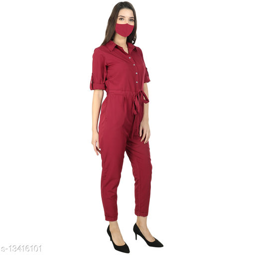 REAL FASHION CREPE ROLLUP JUMPSUIT WITH MASK