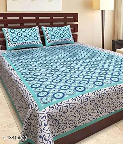 C GREEN CHAKRI DOUBLE BEDSHEET WITH 2 PILLOW COVER(90*100)