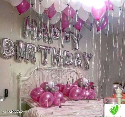 Happy BIRTHDAY Party Decoration Letter Balloons (13  letter of happy BIRTHDAY + 10 SILVER + 10 PERPAL + 10 WHITE) Balloons
